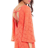 Isabella Lace Dress in Neon Coral :: tobi
