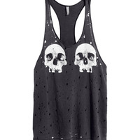 H&M - Tank Top with Printed Design - Dark gray - Ladies