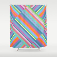 Colorful Stripe Shower Curtain - Vibrant Pattern, bright colors, unique, chic, decor, bath, pink, blue, aqua, yellow, home