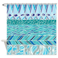 Blue and White Water Shower Curtain -  Vibrant Art, pattern, blue, teal,  art, decor, bathroom, washable, modern home