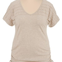 Crochet back cinched side plus size tee