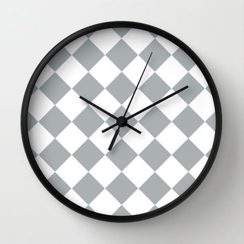 Diamond Grey & White Wall Clock by BeautifulHomes | Society6