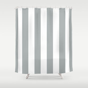 Stripe Vertical Grey & White Shower Curtain by BeautifulHomes | Society6