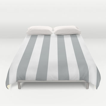 Stripe Vertical Grey & White Duvet Cover by BeautifulHomes   Society6