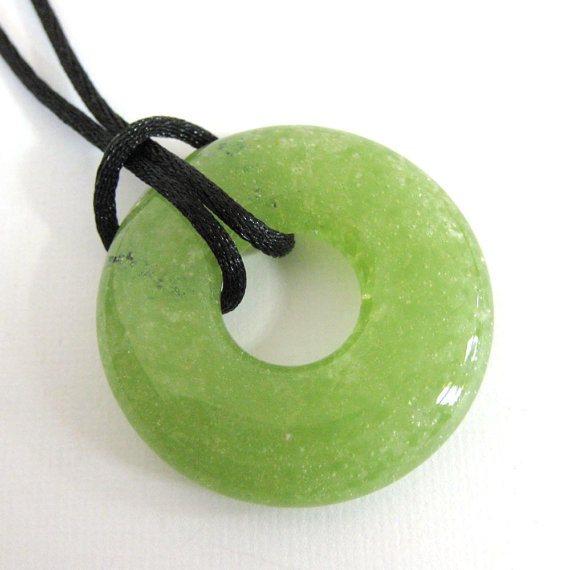 Glass Necklace, Olive Green Donut Fused Glass Necklace, Jewelry - Appletini - 3877