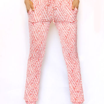 """Kate"" Harem Joggers- Coral Tribal"