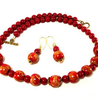 Necklace Set -  Red and Gold Beaded Necklace and Earrings