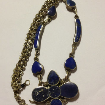 "Lapis Silver Necklace Blue Gold Lazuli Stone 50s Vintage Jewelry 18"" Christmas Birthday Mother's Holiday Anniversary Valentine's Gift Estate"
