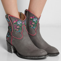 Mexicana - Sora embroidered distressed leather ankle boots