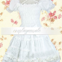 Lolita Costumes Cotton White Shirred Ruffles Sweet Lolita Dress [T110763] - $73.00