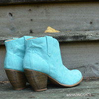 Minnie Mint Bootie Suede Boots Teal