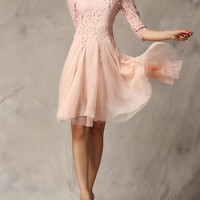 Pink Lace Panel Party Dress
