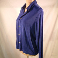 Chico&#x27;s Private Edition button front collared top shirt blue sz 1 (8-10 S)