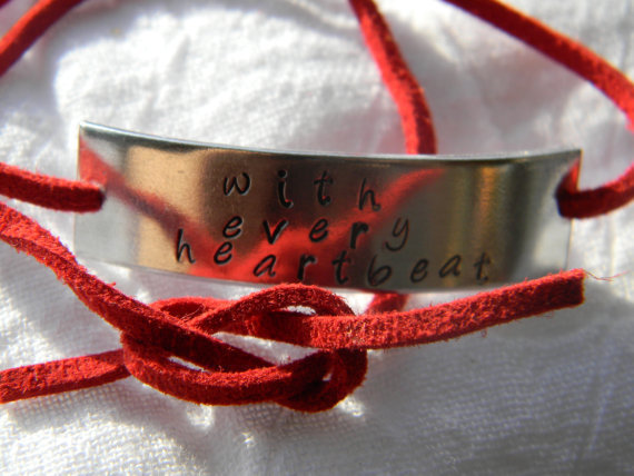 With every heartbeat handstamped aluminum bracelet faux red suede
