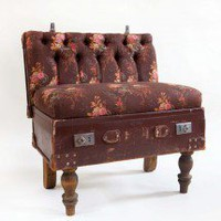 The Suitcase Chair, 1 seater ? Floral Linen & Leather ? Seating ? Recreate