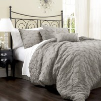 Lush Decor Lake Como 4-Piece Comforter Set, Queen, Grey