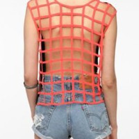 Sparkle & Fade Cage Back Cropped Tee