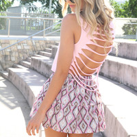 SABO SKIRT  Slash Back Tank - Pink - $28.00