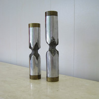 SALE-- Pair of Candle Holders - Brutalist Mid Century Modern
