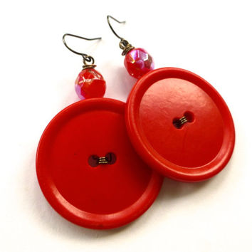Big Bold Red Vintage Button Jewelry - Large Dangle Earrings