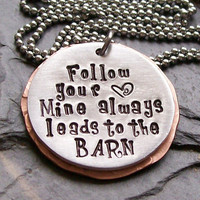 Handstamped Horse Cowgirl- Equestrian-Follow Your Heart Pendant Necklace-Mixed Metals