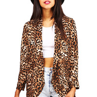 Oversize Leopard Blazer | Trendy Clothes at Pink Ice