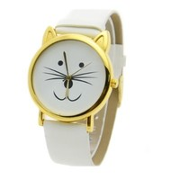 FINEJO Women's Cat Beard Synthetic Leather Bracelet Wrist Watch