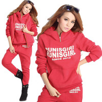 Casual Women's Autumn Winter 3pcs Sports Hoodies Suit Tracksuit Coat+Vest+Pants