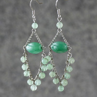 Chandelier Earrings jade green for women dangle gem stone everyday wear classic