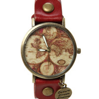LOVEsick World Explore Gold Tone Red Watch