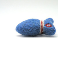 Felted  brooch - blue red white Mini Fish - nautical marine sea fish - needle felted brooch -  4th of july - miniature jewelry
