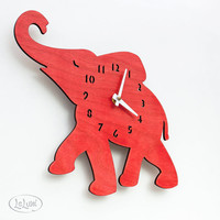"The ""Baby Elephant in Red"" designer wall mounted clock from LeLuni"