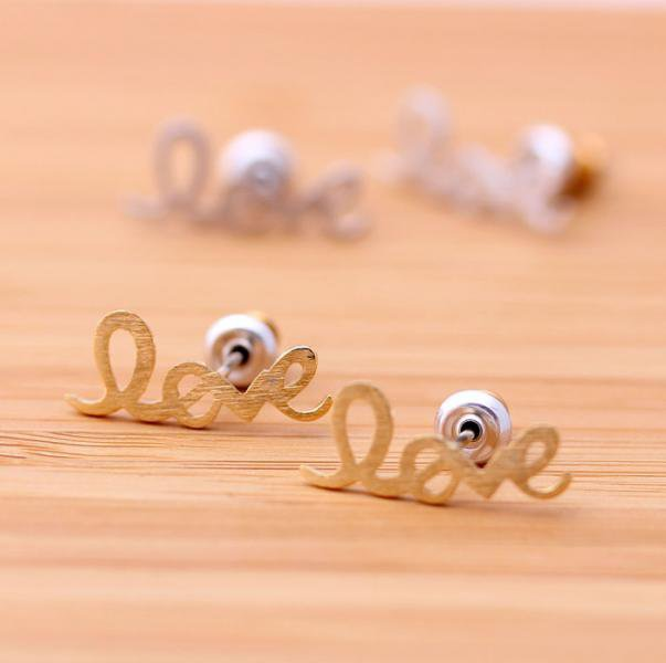 LOVE stud earrings in gold by bythecoco on Zibbet