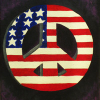 American flag oil painting, peace sign painting, varnished painting, 8x11, original, purple smoke, Fourth of July decoration