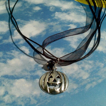 Jack-O-Lantern Halloween pendant necklace on 3 strand ribbon necklace Festive Pumpkin charm & glass bead teen girl gift idea Trick or Treat
