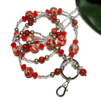 Lanyard Id Badge Necklace Red Orange Platinum Pearls Handmade Fashion Jewelry Strong Magnetic Breakaway Clasp with Angel