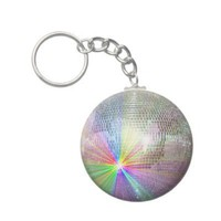 Rainbow Mirror Ball Disco Images Key Chains from Zazzle.com