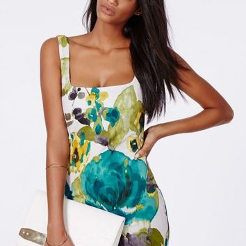 Missguided - Cherish Scuba Bodycon Mini Dress Floral