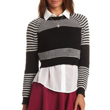LONG SLEEVE STRIPED CROPPED SWEATER
