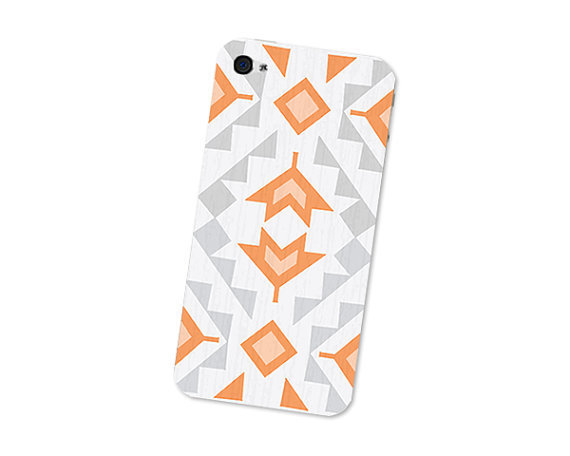 Geometric iPhone 4S Skin: iPhone 4 Skin Decal - Cell Phone Southwest Triangle Tribal in Orange Grey and White Boho For Him iPhone Skin