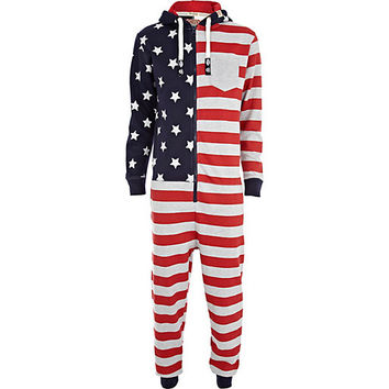 Red Tokyo Laundry flag print Onesuit - Onesuits - pajamas / Onesuits - men