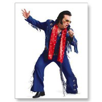 silhouette of an elvis impersonator in a blue post card from Zazzle.com