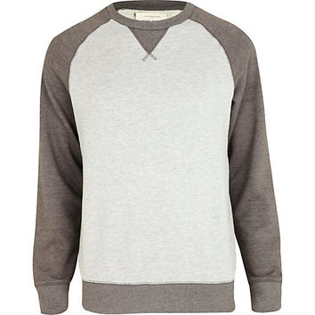 Grey marl color block sweatshirt - hoodies / sweatshirts - sale - men