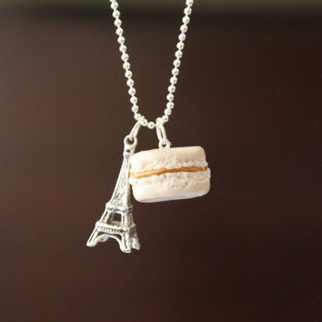 Eiffel Tower Charm and Polymer Clay French Macaroon Necklace