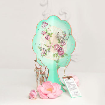Earring Display Organizer / Hand-Painted Jewelry Storage / Jewelry Tree / Shabby Chic / French Cottage