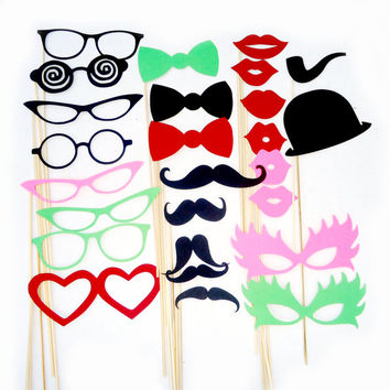 Photo Booth Props, Photobooth props, Wedding Props, 26 pieces, Birthday Party Favors, Mustache  Lips Glasses on a Stick, READY TO SHIP