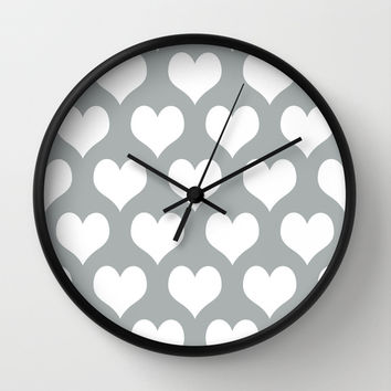 Hearts of Love Grey & White Wall Clock by BeautifulHomes | Society6