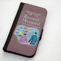 Beetlejuice Inspired Handbook For The Recently Departed Apple iPhone 5/5s Leather Wallet Case By Little Brick Press