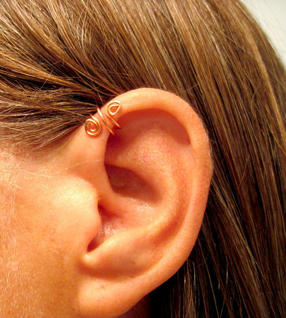 "No Piercing Handmade Helix Cuff Ear Cuff ""Spiral Up"" 1 Cuff - Copper or 17 Color Choices"