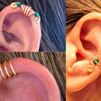 15% Off Get 3 Different Ear Cuffs No Piercing Gold Tone &amp; Green Crystals as shown or 17 color choices